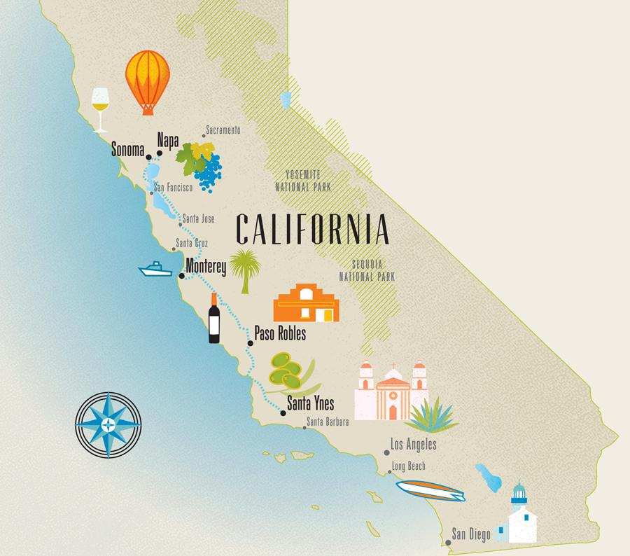 Carte de la Californie - Scooter Design Inc.